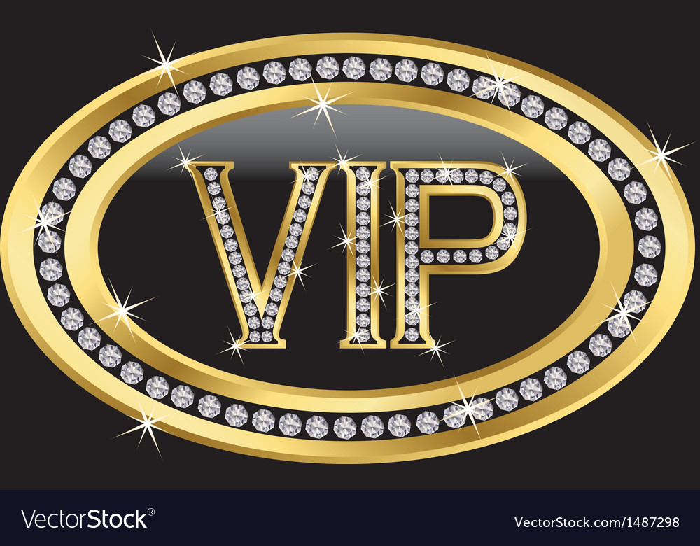 Vip gold label with diamonds vector | Price: 1 Credit (USD $1)