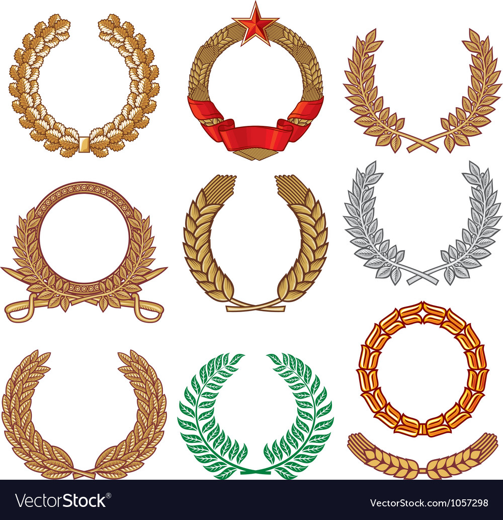 Wreath set - laurel wreath vector | Price: 1 Credit (USD $1)