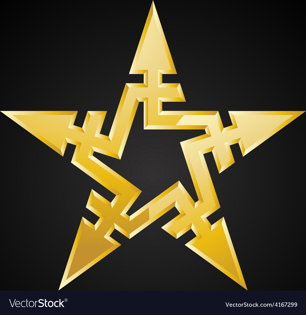 Abstract gold star with arrows design element on vector   Price: 1 Credit (USD $1)