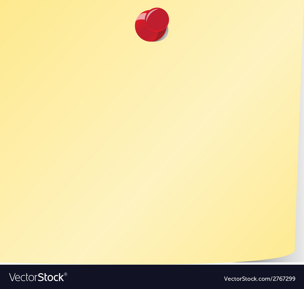 Blank yellow sticky note pinned vector | Price: 1 Credit (USD $1)