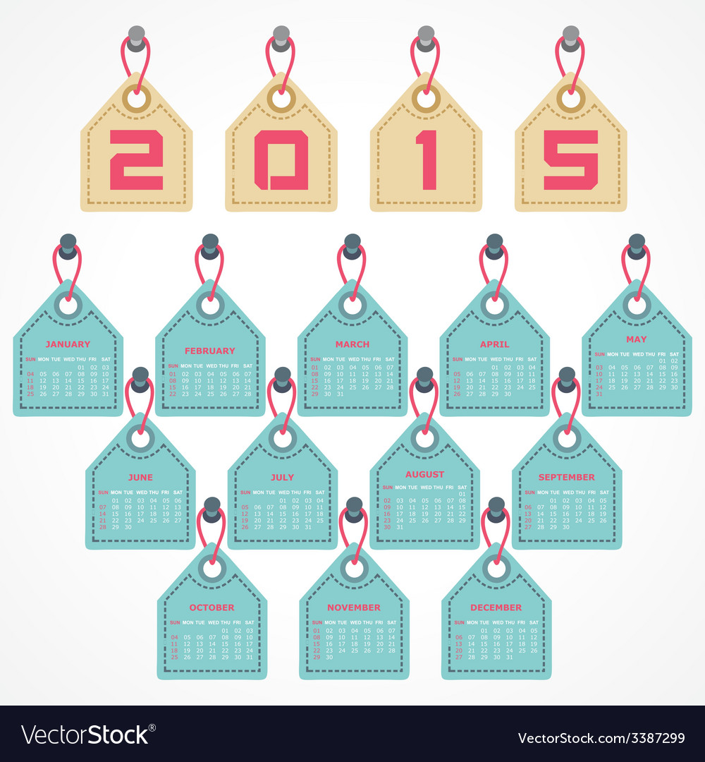 Calendar of 2015 with hanging label design vector | Price: 1 Credit (USD $1)