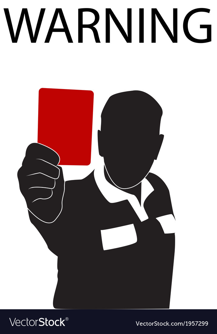 Football referee holding red card silhouette vector | Price: 1 Credit (USD $1)