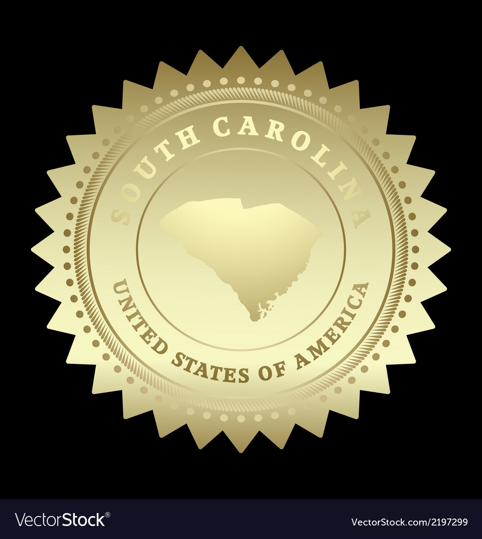 Gold star label south carolina vector | Price: 1 Credit (USD $1)