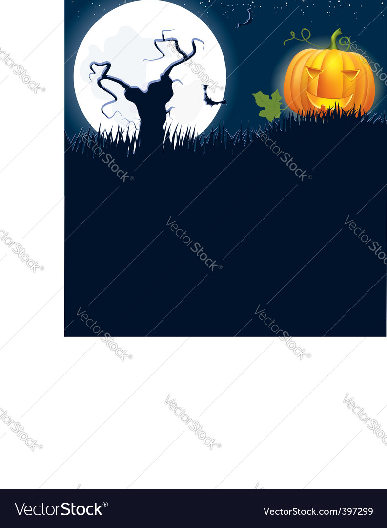 Halloween moon tree vector | Price: 1 Credit (USD $1)