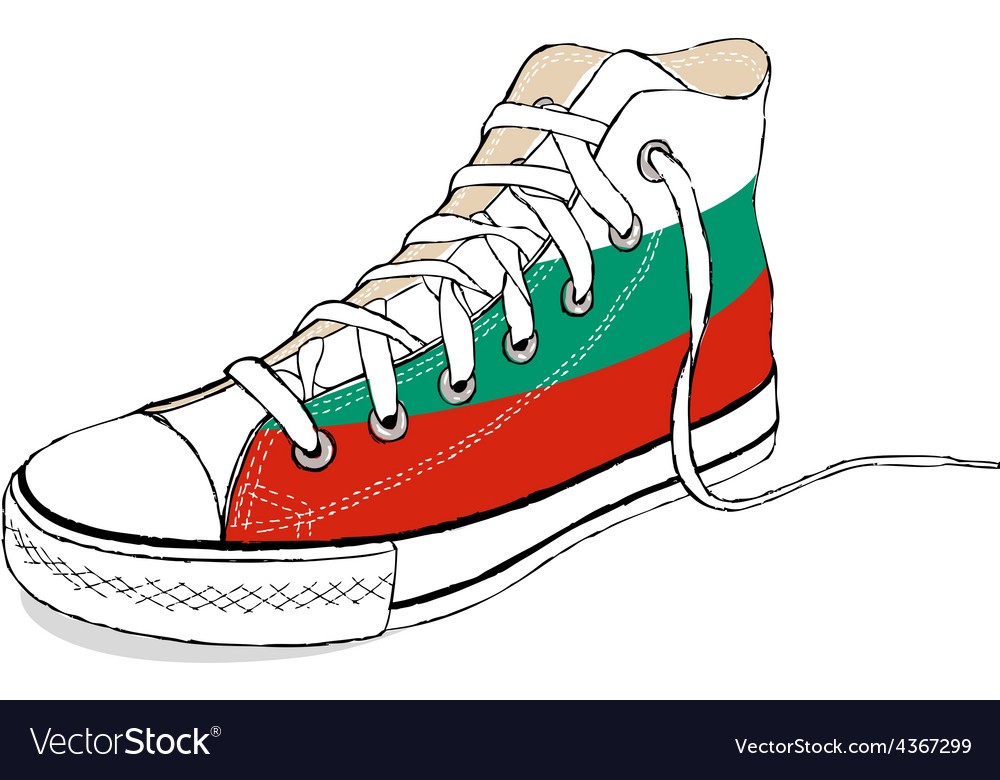 Hand draw modern sport shoes with bulgaria flag vector | Price: 1 Credit (USD $1)