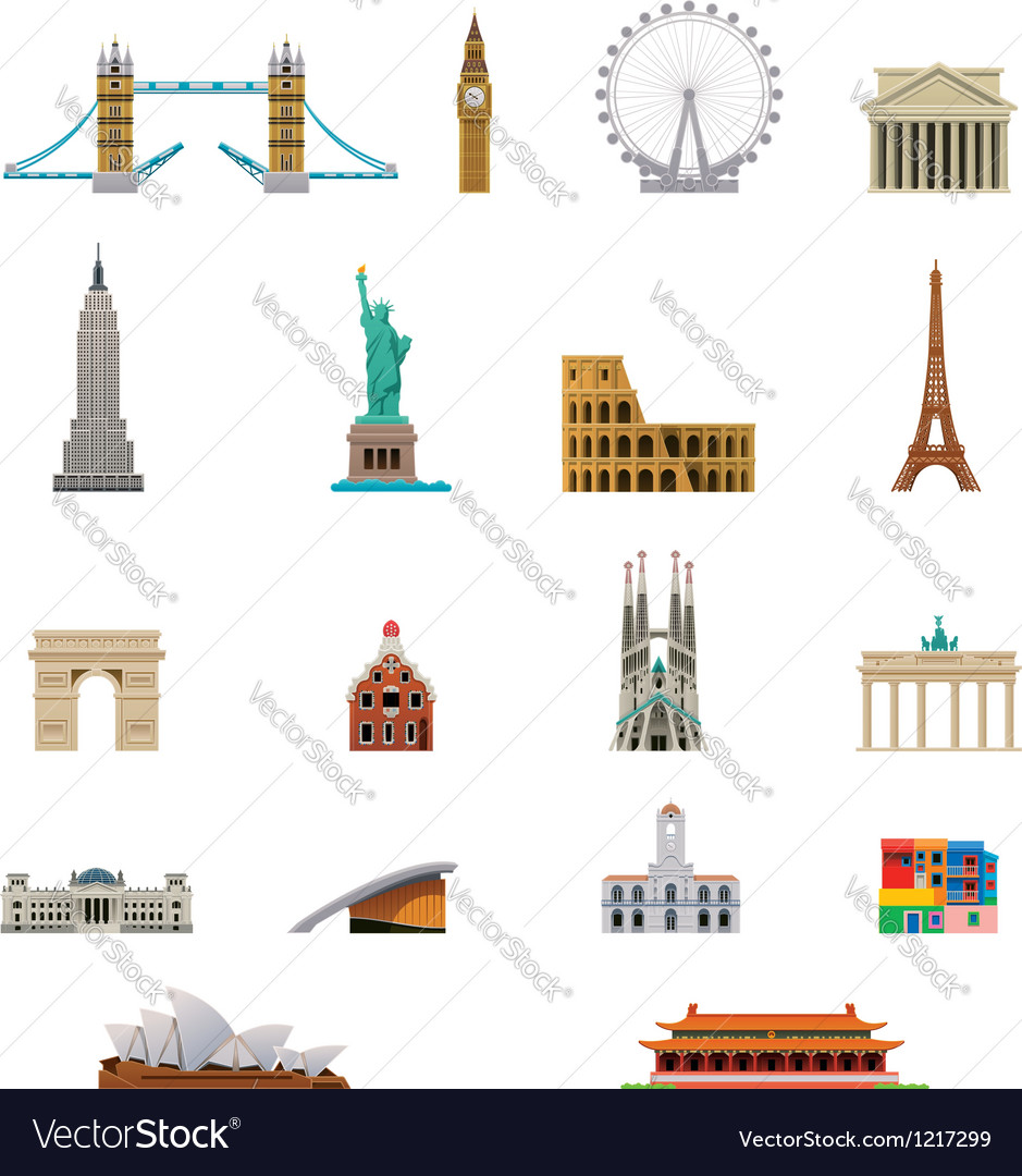 Landmark icon set vector | Price: 3 Credit (USD $3)