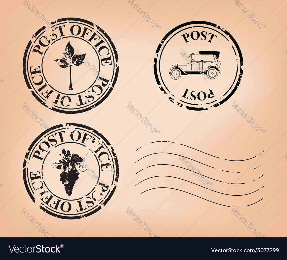 Set - grungy post stamps vector | Price: 1 Credit (USD $1)