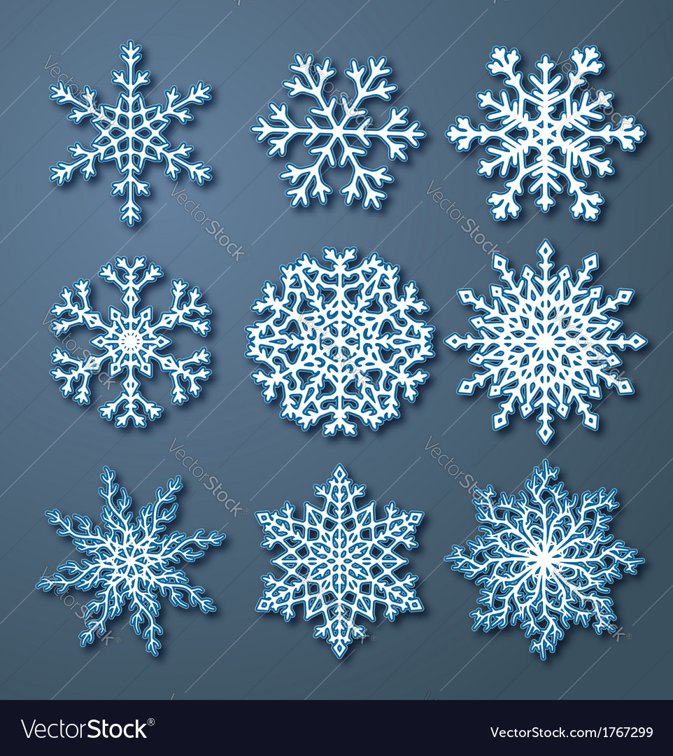 Set of paper snowflakes vector | Price: 1 Credit (USD $1)