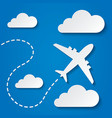 Paper flying plane in clouds travel background vector
