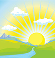 Sunny landscape background vector