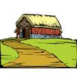 Barn on hill vector