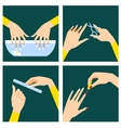 Icons set in flat design style with woman hands vector