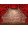 Brick wall and red curtains background vector