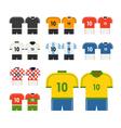 World soccer team t-shirts clip-art vector