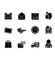 Silhouette post and office icons vector