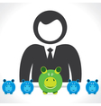 Men with saving piggy stock vector