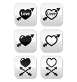 Hearts with arrow love valentines buttons set vector