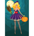 Beautiful witch with pumpkin vector