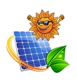 Trendy sun with a solar photovoltaic panel vector