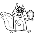 Squirrel with nut coloring page vector