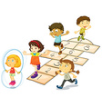Children and hopscotch vector