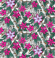 Floral seamless pattern with fuchsia and pink trop vector
