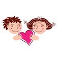 Cartoon boy and girl in love vector