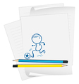 A paper with a drawing of a boy playing soccer vector