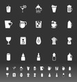 Variety drink icons on gray background vector