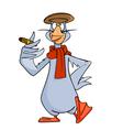 Cartoon bird goose wearing a scarf a cap vector