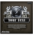 Emblem speedometer races checkered flag background vector