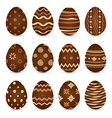 Easter set chocolate ornate eggs with shadows vector
