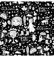 Black and white cute autumn pattern vector