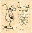 Hand drawn pina colada cocktail vector