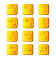 Zodiac signs on gold buttons vector