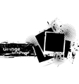 Grunge background with photo frames vector