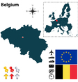 Belgium and european union map vector