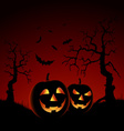 Halloween night red backdrop with pumpkins vector
