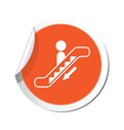 Escalator down sign orange sticker vector