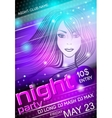 Night party sexy girl poster vector