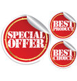 Special offer best product and best choice vector