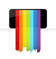 Smartphone with rainbow paint vector