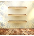 Christmas shelfs with wood floor eps 10 vector