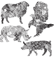 Set of animals in the ethnic ornaments vector
