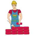 Builder working working mason makes laying bricks vector