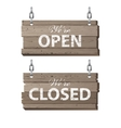 Open and closed wooden signs vector