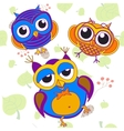 Owl bird pink tree animal leaf drawing  color vector