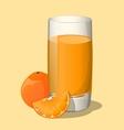 Full glass of orange juice vector