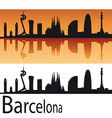 Barcelona skyline in orange background vector