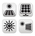 Solar panels solar energy white buttons set vector
